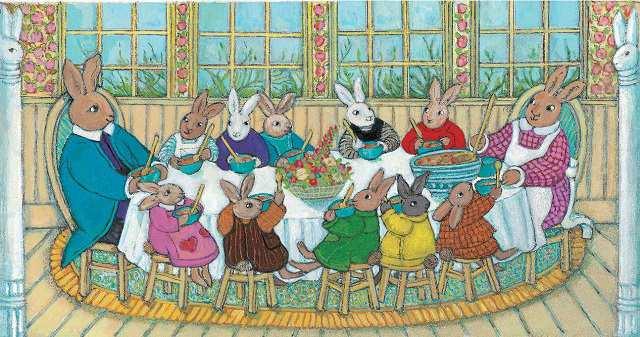 Familia veselă a iepurașilor
